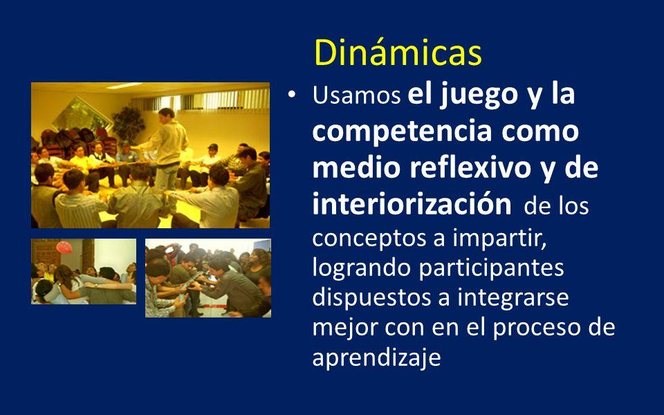 Dinámicas Usamos el juego y la competencia como medio reflexivo y de interiorización de los conceptos a impartir, logrando participantes dispuestos a