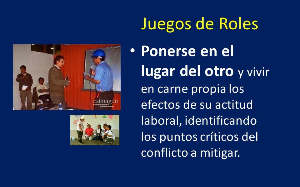 Juegos de Roles Ponerse en el lugar del otro y vivir en carne propia los efectos de su actitud laboral, identificando los puntos críticos del conflict