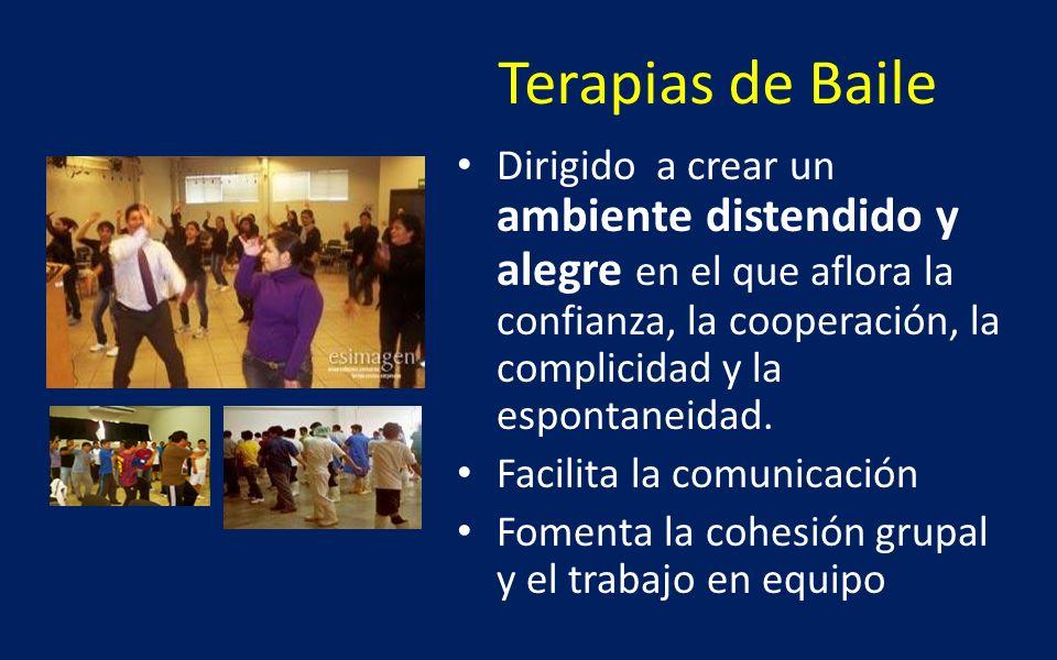 Terapias de Baile Dirigido a crear un ambiente distendido y alegre en el que aflora la confianza, la cooperación, la complicidad y la espontaneidad. F