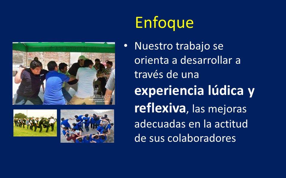Enfoque Nuestro trabajo se orienta a desarrollar a través de una experiencia lúdica y reflexiva, las mejoras adecuadas en la actitud de sus colaborado