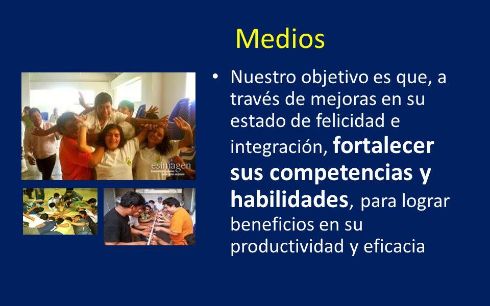 Medios Nuestro objetivo es que, a través de mejoras en su estado de felicidad e integración, fortalecer sus competencias y habilidades, para lograr be