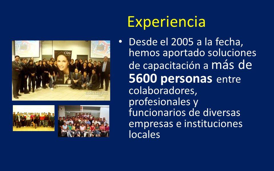 Experiencia Desde el 2005 a la fecha, hemos aportado soluciones de capacitación a más de 5600 personas entre colaboradores, profesionales y funcionari
