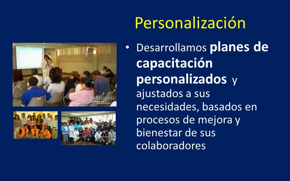 Personalización Desarrollamos planes de capacitación personalizados y ajustados a sus necesidades, basados en procesos de mejora y bienestar de sus co