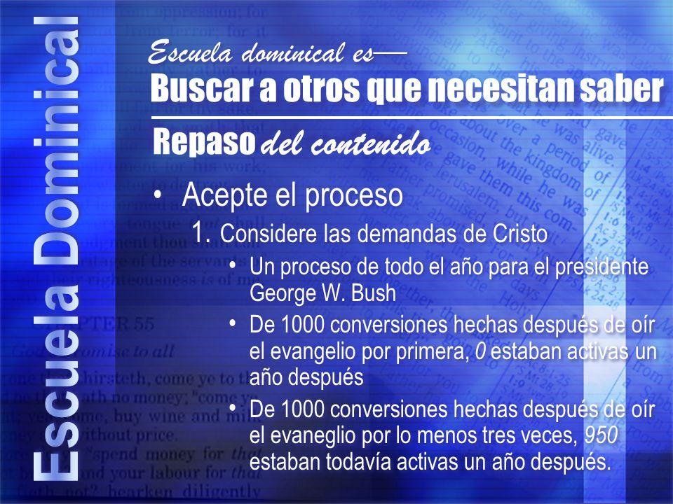 Acepte el proceso 1. Considere las demandas de Cristo Un proceso de todo el año para el presidente George W. Bush De 1000 conversiones hechas después