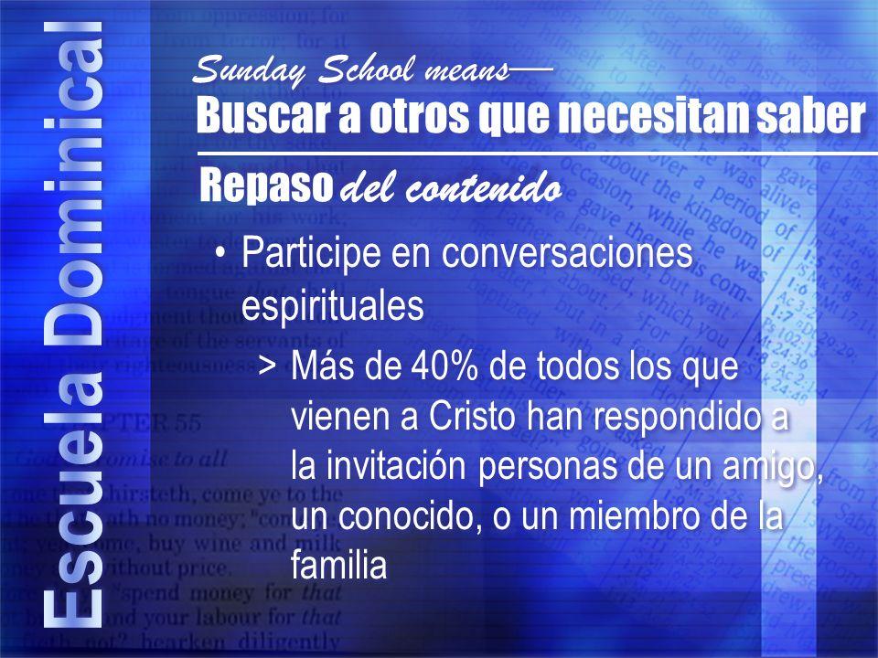 Participe en conversaciones espirituales >Más de 40% de todos los que vienen a Cristo han respondido a la invitación personas de un amigo, un conocido