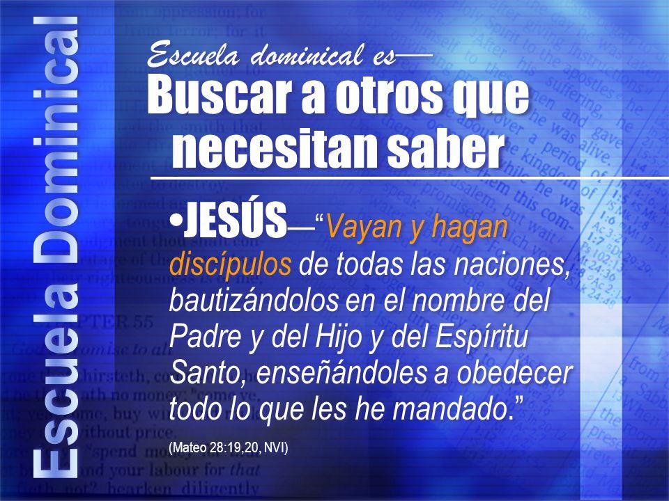 JESÚS Vayan y hagan discípulos de todas las naciones, bautizándolos en el nombre del Padre y del Hijo y del Espíritu Santo, enseñándoles a obedecer to