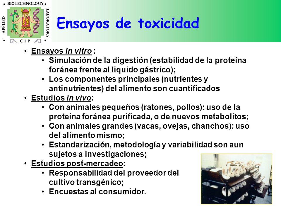 Ensayos in vitro : Simulación de la digestión (estabilidad de la proteína foránea frente al liquido gástrico); Los componentes principales (nutrientes