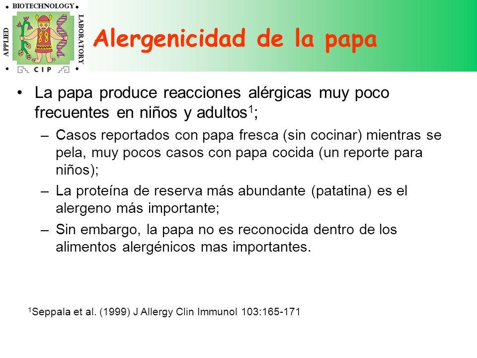 Alergenicidad de la papa La papa produce reacciones alérgicas muy poco frecuentes en niños y adultos 1 ; –Casos reportados con papa fresca (sin cocina