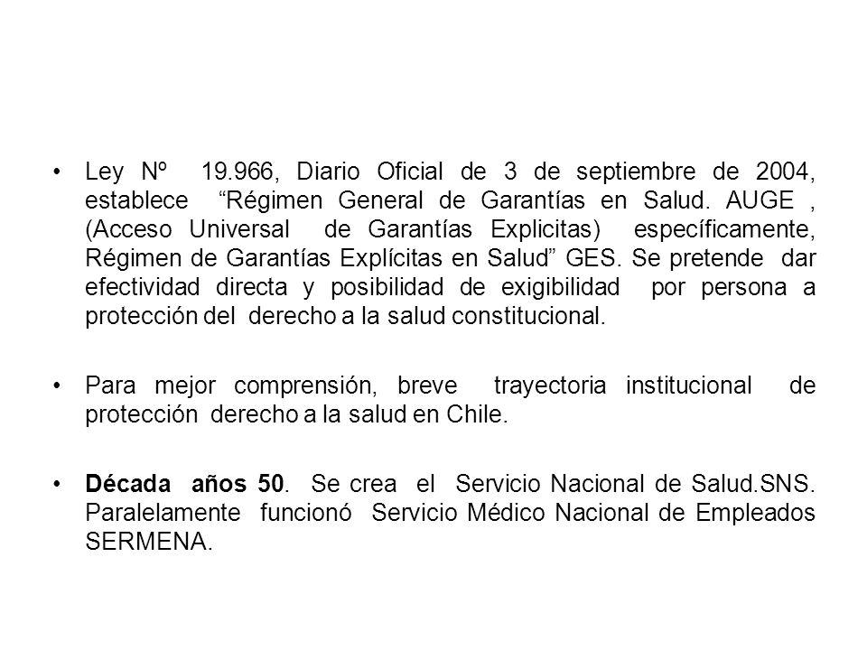 Ley Nº 19.966, Diario Oficial de 3 de septiembre de 2004, establece Régimen General de Garantías en Salud. AUGE, (Acceso Universal de Garantías Explic
