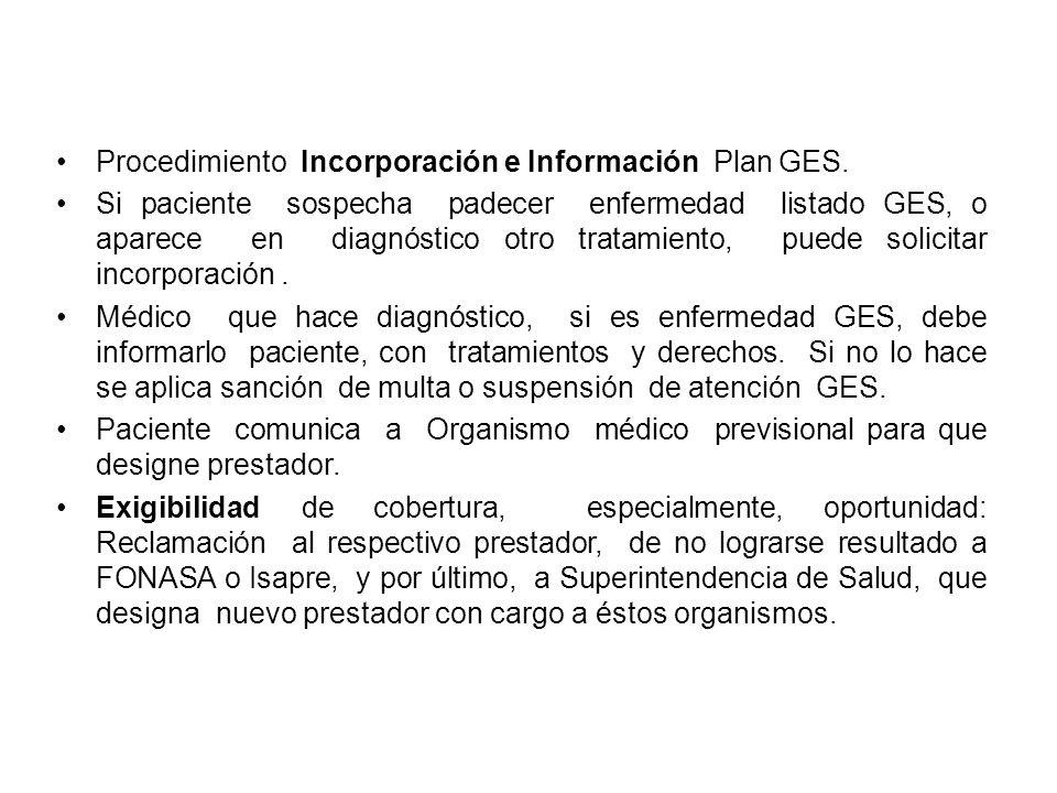Procedimiento Incorporación e Información Plan GES. Si paciente sospecha padecer enfermedad listado GES, o aparece en diagnóstico otro tratamiento, pu
