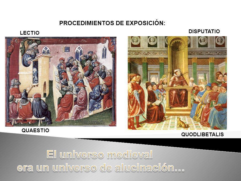PROCEDIMIENTOS DE EXPOSICIÓN: LECTIO QUAESTIO DISPUTATIO QUODLIBETALIS