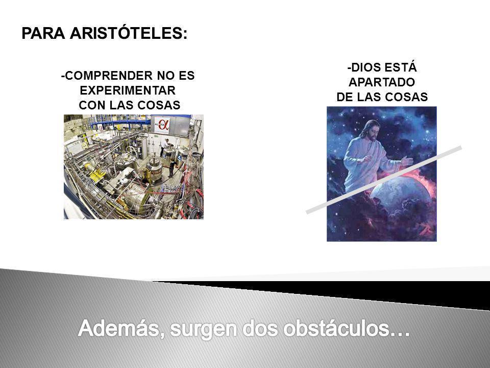 PARA ARISTÓTELES: -COMPRENDER NO ES EXPERIMENTAR CON LAS COSAS -DIOS ESTÁ APARTADO DE LAS COSAS
