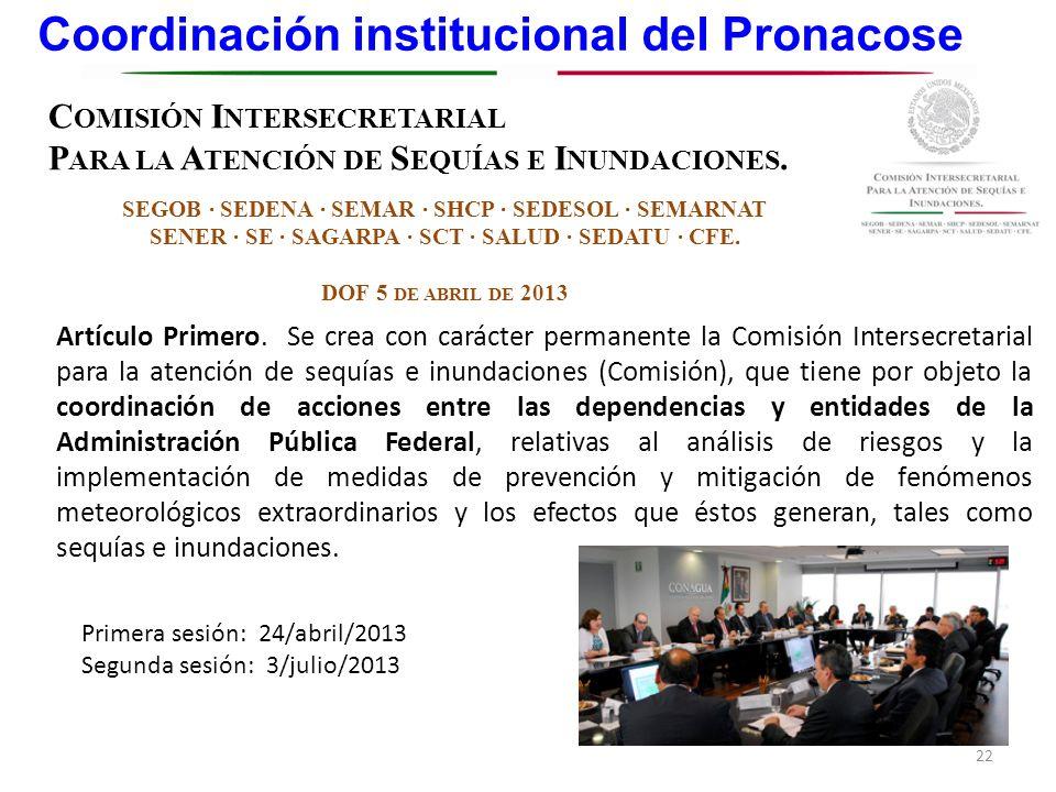 Coordinación institucional del Pronacose 22 C OMISIÓN I NTERSECRETARIAL P ARA LA A TENCIÓN DE S EQUÍAS E I NUNDACIONES. SEGOB SEDENA SEMAR SHCP SEDESO