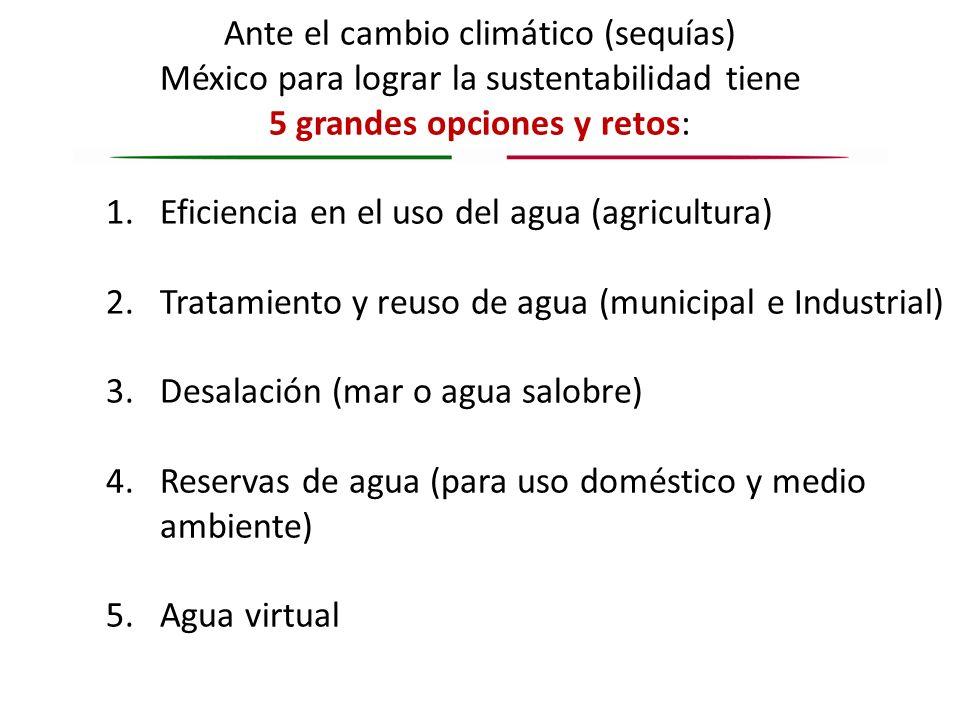 Ante el cambio climático (sequías) México para lograr la sustentabilidad tiene 5 grandes opciones y retos: 1.Eficiencia en el uso del agua (agricultur