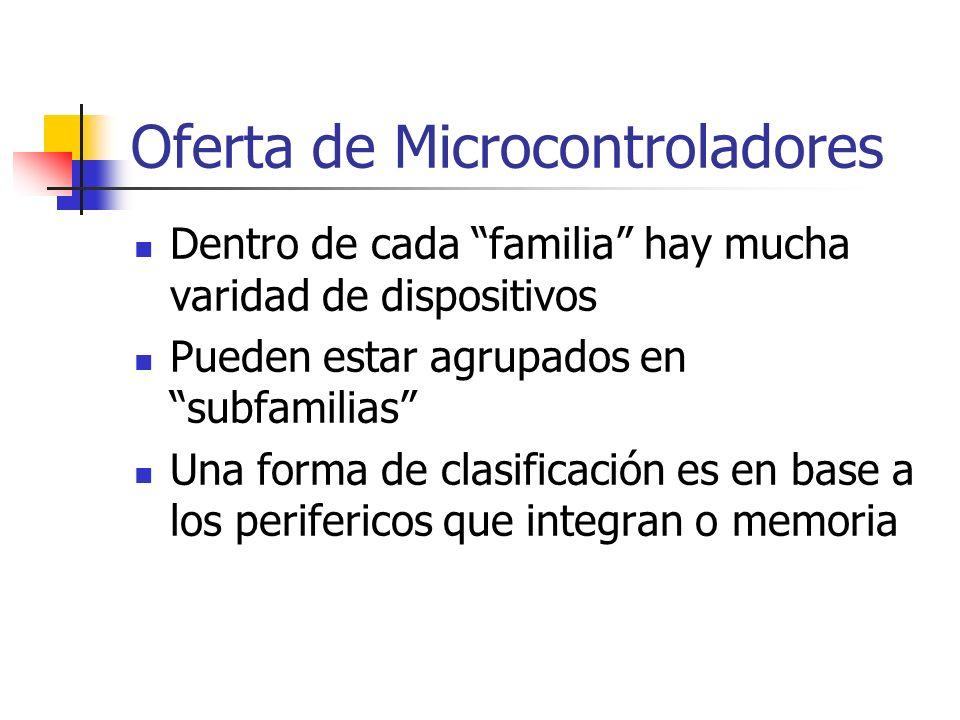 Dentro de cada familia hay mucha varidad de dispositivos Pueden estar agrupados en subfamilias Una forma de clasificación es en base a los perifericos