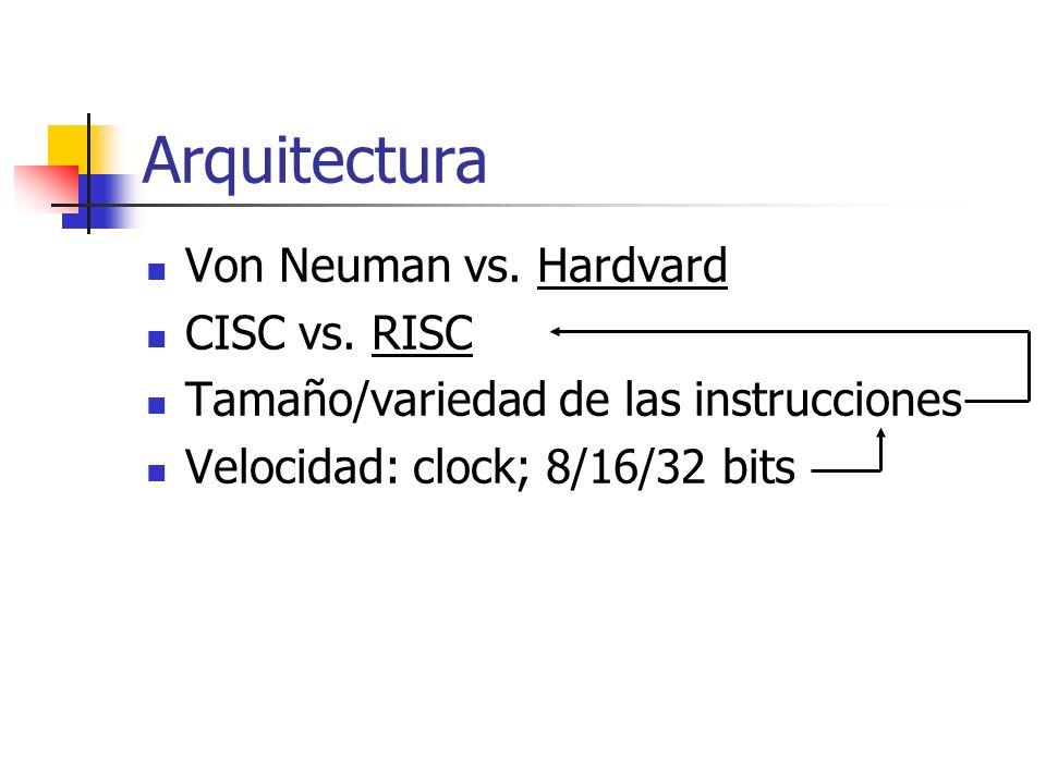 Arquitectura Von Neuman vs. Hardvard CISC vs. RISC Tamaño/variedad de las instrucciones Velocidad: clock; 8/16/32 bits