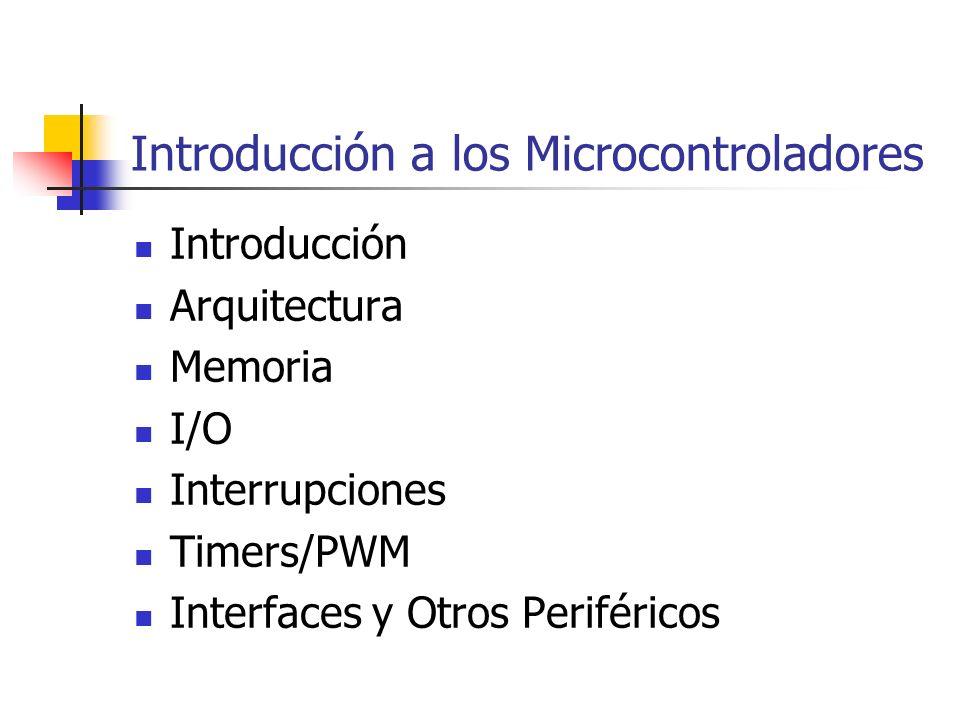 Introducción Arquitectura Memoria I/O Interrupciones Timers/PWM Interfaces y Otros Periféricos