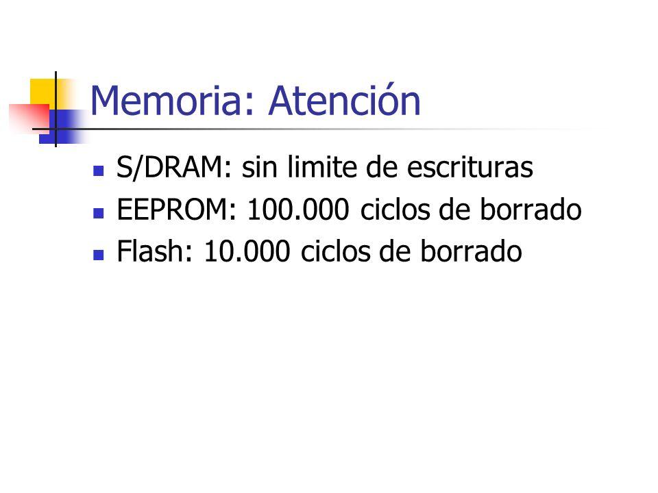 Memoria: Atención S/DRAM: sin limite de escrituras EEPROM: 100.000 ciclos de borrado Flash: 10.000 ciclos de borrado