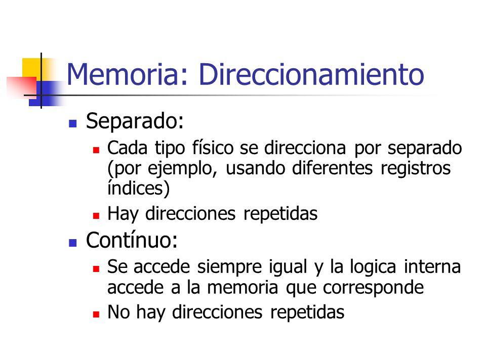 Memoria: Direccionamiento Separado: Cada tipo físico se direcciona por separado (por ejemplo, usando diferentes registros índices) Hay direcciones rep