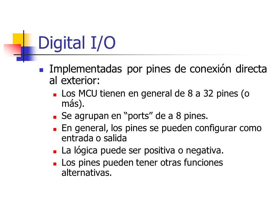 Digital I/O Implementadas por pines de conexión directa al exterior: Los MCU tienen en general de 8 a 32 pines (o más). Se agrupan en ports de a 8 pin