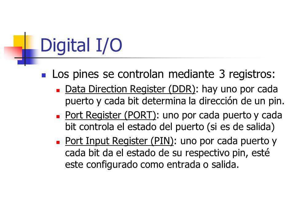 Digital I/O Los pines se controlan mediante 3 registros: Data Direction Register (DDR): hay uno por cada puerto y cada bit determina la dirección de u