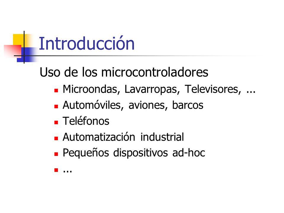 Introducción Uso de los microcontroladores Microondas, Lavarropas, Televisores,... Automóviles, aviones, barcos Teléfonos Automatización industrial Pe