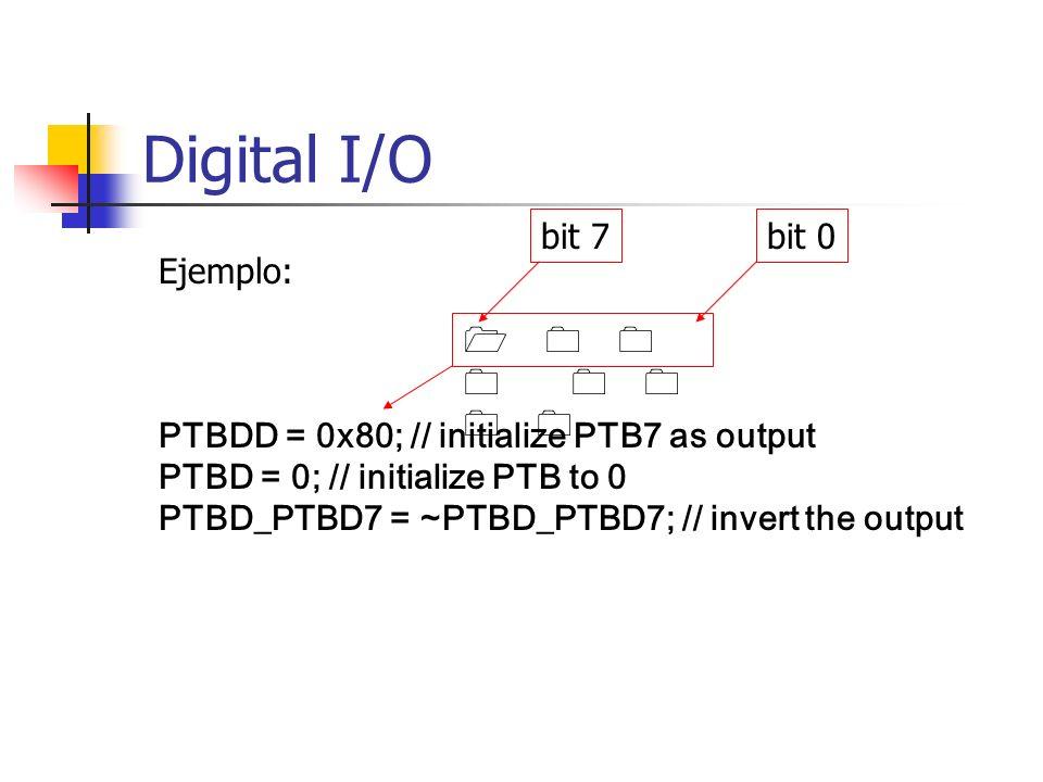 PTBDD = 0x80; // initialize PTB7 as output PTBD = 0; // initialize PTB to 0 PTBD_PTBD7 = ~PTBD_PTBD7; // invert the output 1 0 0 0 0 0 0 0 Ejemplo: bi