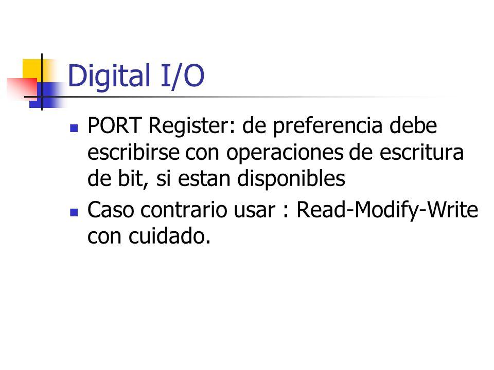 Digital I/O PORT Register: de preferencia debe escribirse con operaciones de escritura de bit, si estan disponibles Caso contrario usar : Read-Modify-