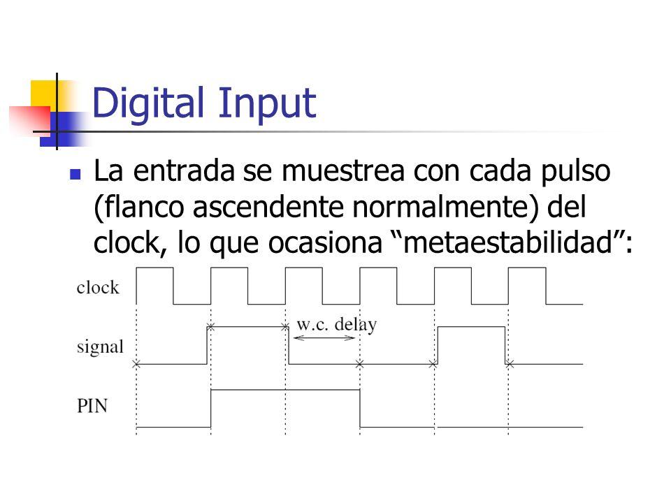 Digital Input La entrada se muestrea con cada pulso (flanco ascendente normalmente) del clock, lo que ocasiona metaestabilidad: