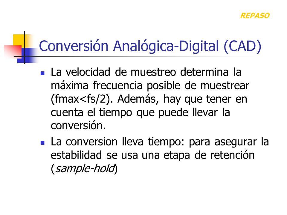 Conversión Analógica-Digital (CAD) La velocidad de muestreo determina la máxima frecuencia posible de muestrear (fmax<fs/2). Además, hay que tener en