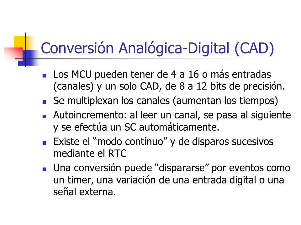 Conversión Analógica-Digital (CAD) Los MCU pueden tener de 4 a 16 o más entradas (canales) y un solo CAD, de 8 a 12 bits de precisión. Se multiplexan