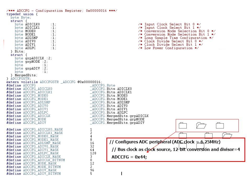 // Configures ADC peripheral (ADC clock = 6.25MHz) // Bus clock as clock source, 12-bit conversión and divisor=4 ADCCFG = 0x44; 0 1 0 0