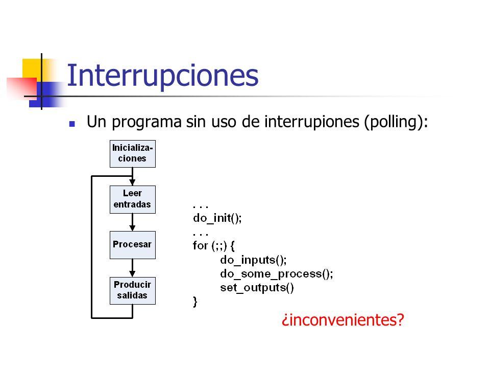 Interrupciones Un programa sin uso de interrupiones (polling): ¿inconvenientes?