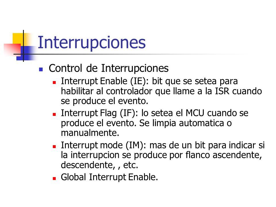 Interrupciones Control de Interrupciones Interrupt Enable (IE): bit que se setea para habilitar al controlador que llame a la ISR cuando se produce el