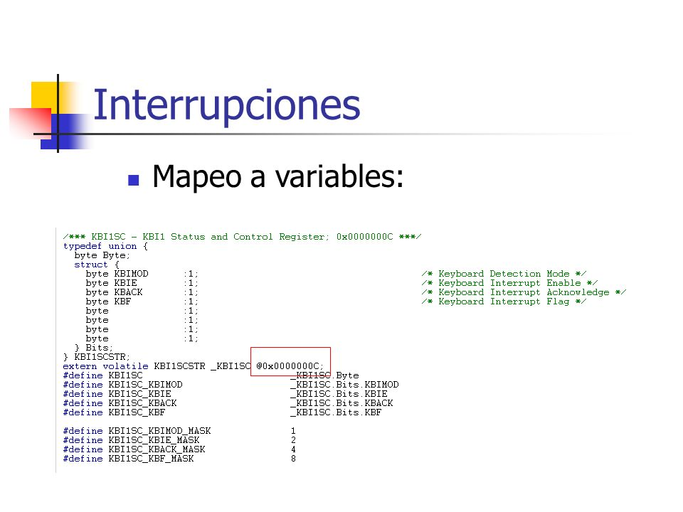 Mapeo a variables:
