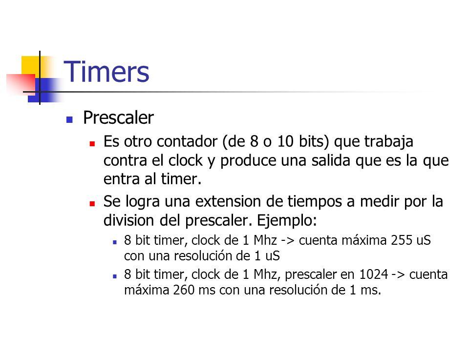 Timers Prescaler Es otro contador (de 8 o 10 bits) que trabaja contra el clock y produce una salida que es la que entra al timer. Se logra una extensi