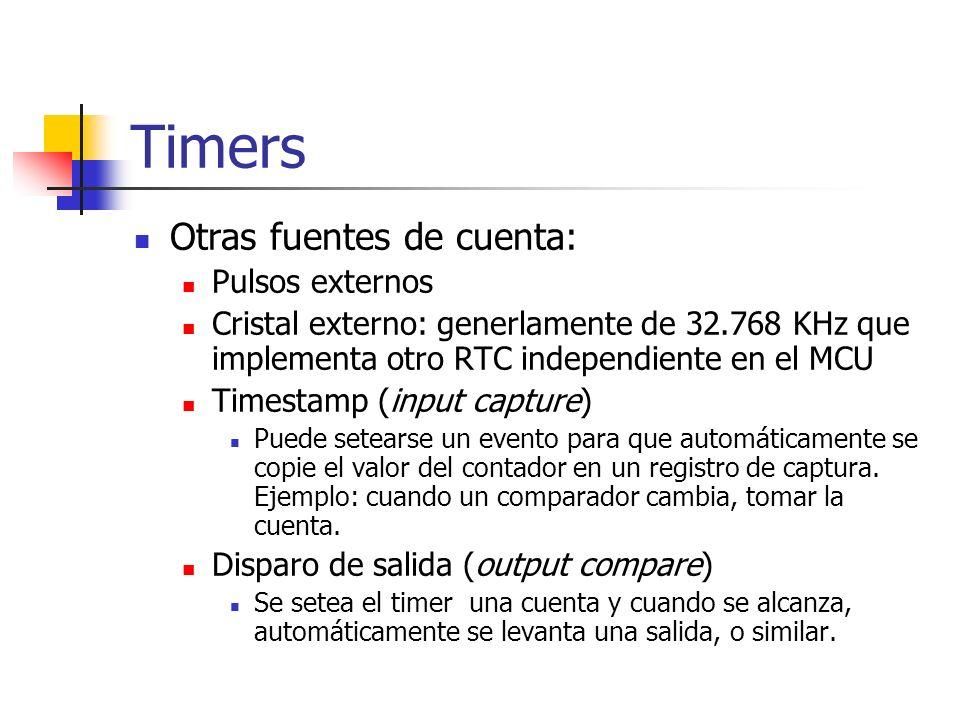 Timers Otras fuentes de cuenta: Pulsos externos Cristal externo: generlamente de 32.768 KHz que implementa otro RTC independiente en el MCU Timestamp