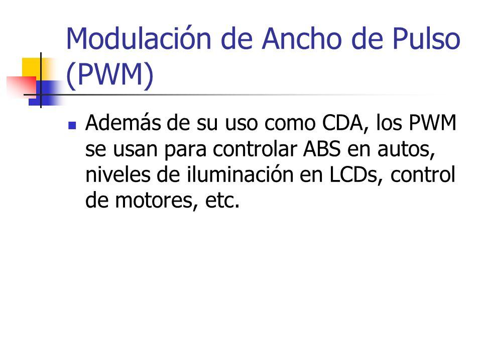 Modulación de Ancho de Pulso (PWM) Además de su uso como CDA, los PWM se usan para controlar ABS en autos, niveles de iluminación en LCDs, control de