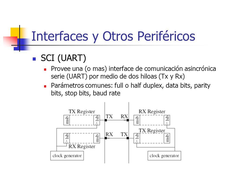 Interfaces y Otros Periféricos SCI (UART) Provee una (o mas) interface de comunicación asincrónica serie (UART) por medio de dos hiloas (Tx y Rx) Pará