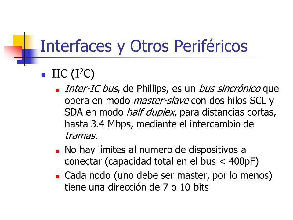 IIC (I 2 C) Inter-IC bus, de Phillips, es un bus sincrónico que opera en modo master-slave con dos hilos SCL y SDA en modo half duplex, para distancia