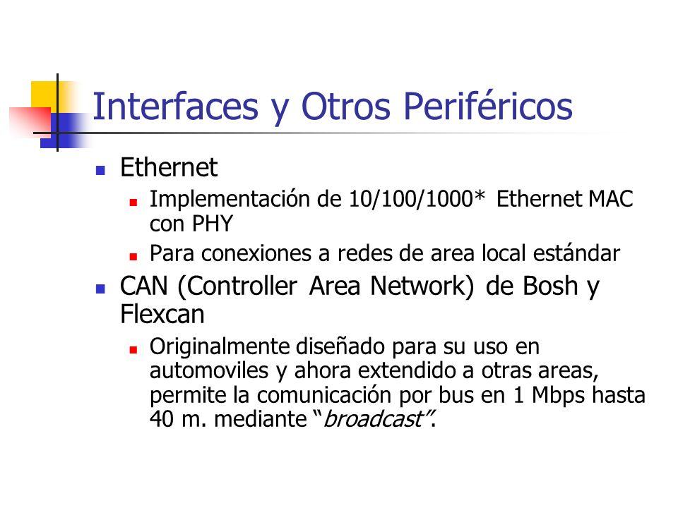 Interfaces y Otros Periféricos Ethernet Implementación de 10/100/1000* Ethernet MAC con PHY Para conexiones a redes de area local estándar CAN (Contro