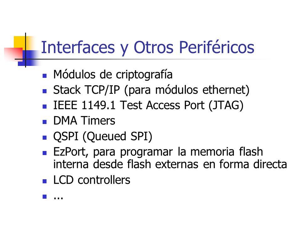 Interfaces y Otros Periféricos Módulos de criptografía Stack TCP/IP (para módulos ethernet) IEEE 1149.1 Test Access Port (JTAG) DMA Timers QSPI (Queue