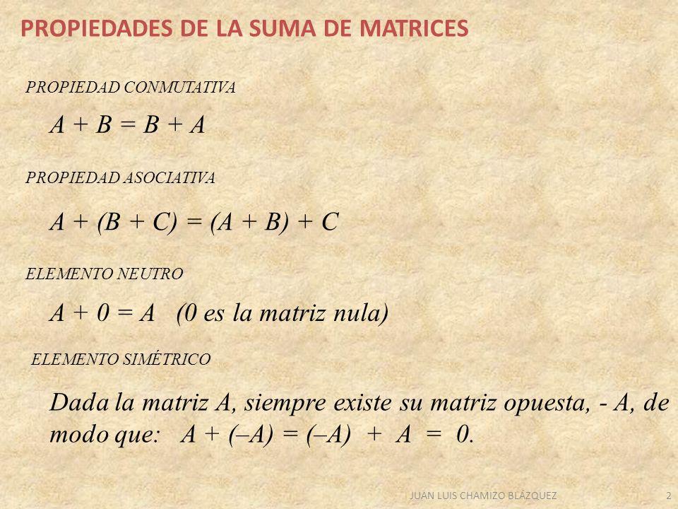 JUAN LUIS CHAMIZO BLÁZQUEZ2 PROPIEDADES DE LA SUMA DE MATRICES A + (B + C) = (A + B) + C A + B = B + A A + 0 = A (0 es la matriz nula) Dada la matriz A, siempre existe su matriz opuesta, - A, de modo que: A + (–A) = (–A) + A = 0.