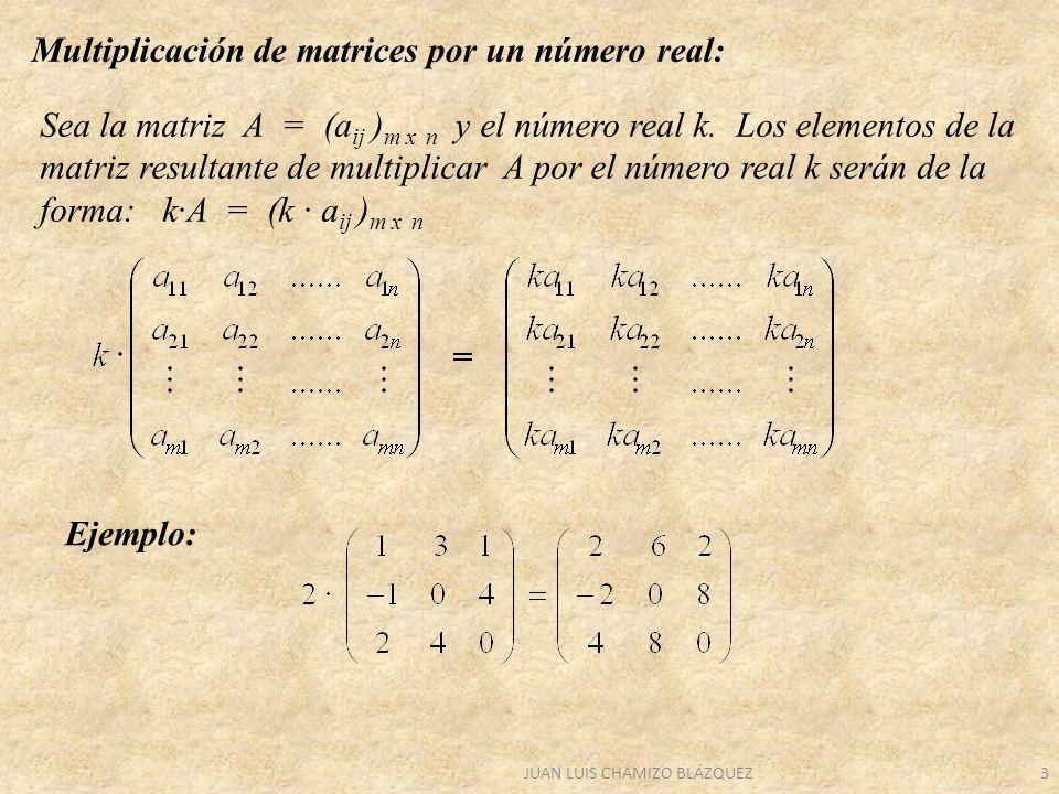JUAN LUIS CHAMIZO BLÁZQUEZ4 PROPIEDADES DE LA MULTIPLICACIÓN DE UN Nº REAL POR UNA MATRIZ (k + h) · A = k · A + h · A k (A + B) = k · A + k · B (k · h) · A = k · (h · A) 1 es el elemento unidad.