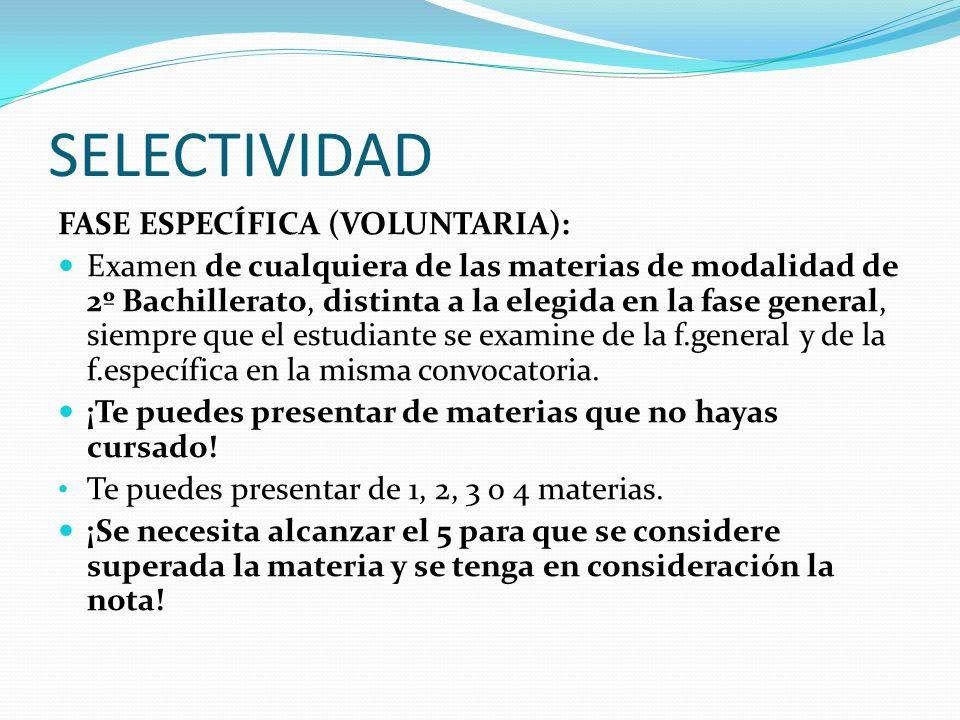 SELECTIVIDAD FASE ESPECÍFICA (VOLUNTARIA): Examen de cualquiera de las materias de modalidad de 2º Bachillerato, distinta a la elegida en la fase gene