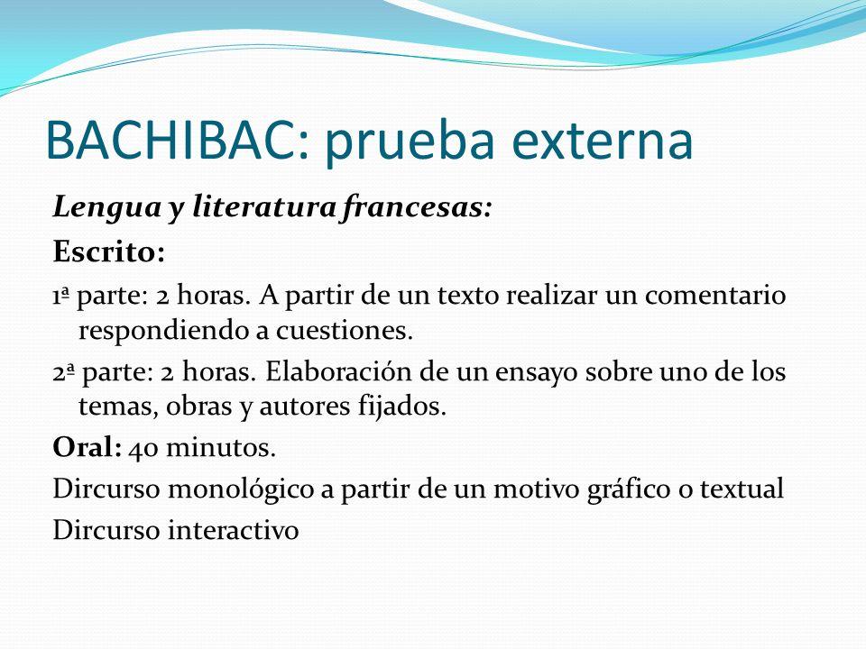 BACHIBAC: prueba externa Lengua y literatura francesas: Escrito: 1ª parte: 2 horas. A partir de un texto realizar un comentario respondiendo a cuestio