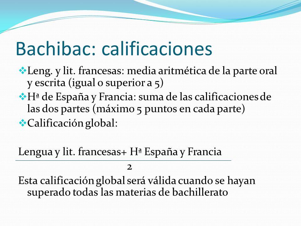 Bachibac: calificaciones Leng. y lit. francesas: media aritmética de la parte oral y escrita (igual o superior a 5) Hª de España y Francia: suma de la