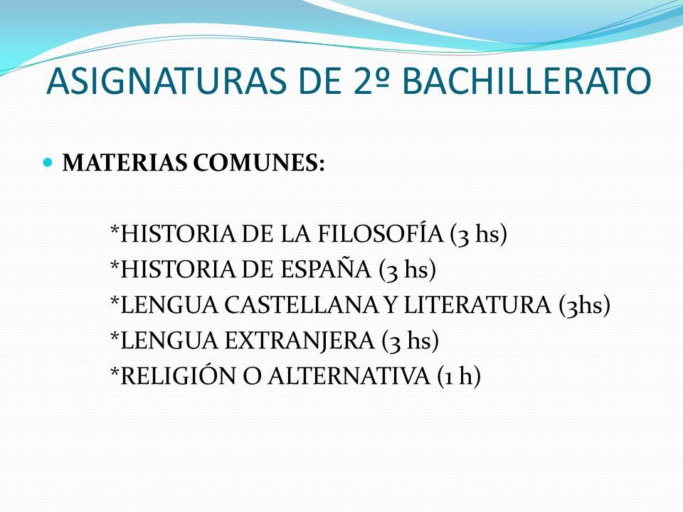ASIGNATURAS DE 2º BACHILLERATO MATERIAS COMUNES: *HISTORIA DE LA FILOSOFÍA (3 hs) *HISTORIA DE ESPAÑA (3 hs) *LENGUA CASTELLANA Y LITERATURA (3hs) *LE