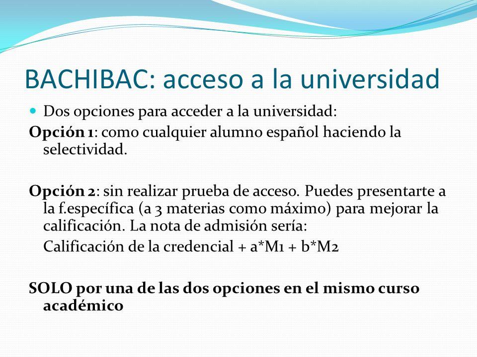 BACHIBAC: acceso a la universidad Dos opciones para acceder a la universidad: Opción 1: como cualquier alumno español haciendo la selectividad. Opción