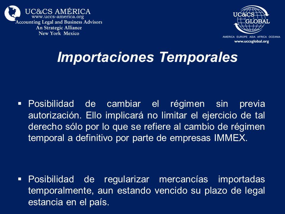 Importaciones Temporales Posibilidad de cambiar el régimen sin previa autorización. Ello implicará no limitar el ejercicio de tal derecho sólo por lo